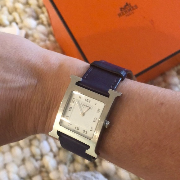 Authentic Hermès watch with plum leather wristband